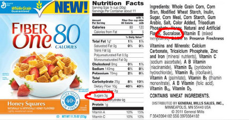 sucralose on the packaging of processed food.picture